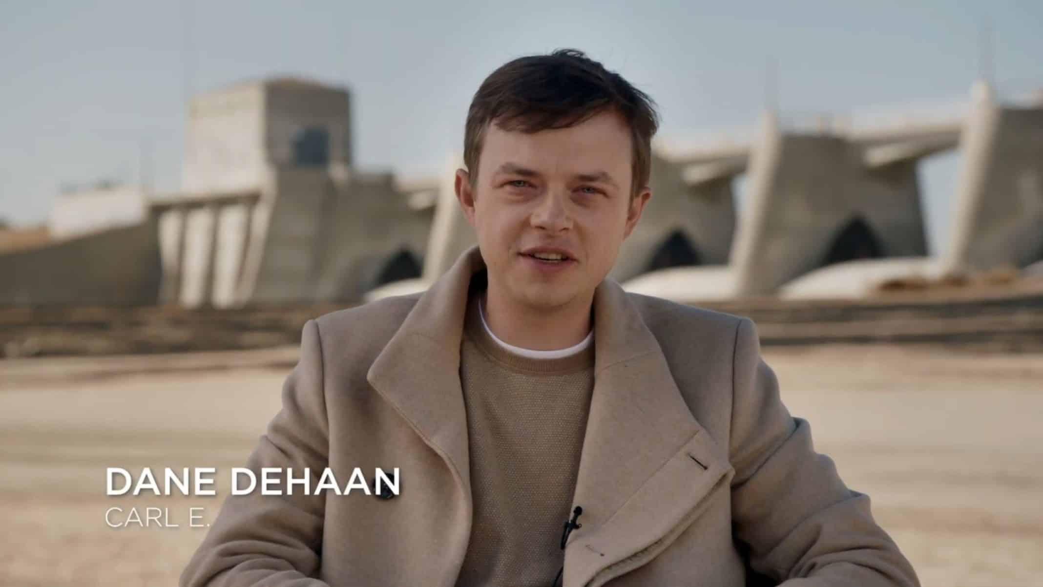 Carl E (Dane DeHaan) doing a interview.