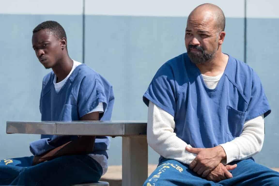 Jahkor (Ashton Sanders) and J.D. (Jeffrey Wright) in prison together.