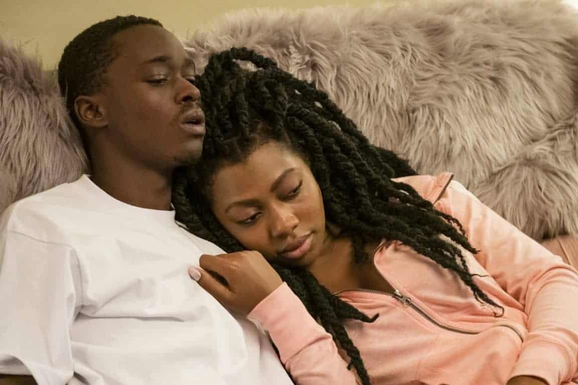 Jahkor (Ashton Sanders) and Shakira Ja'Nai Paye cuddling.
