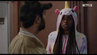 Leilani (Issa Rae) in a unicorn costume.