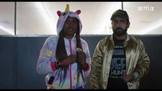 Leilani (Issa Rae) and Jibran (Kumail Nanjiani) trying to be inconspicuous.
