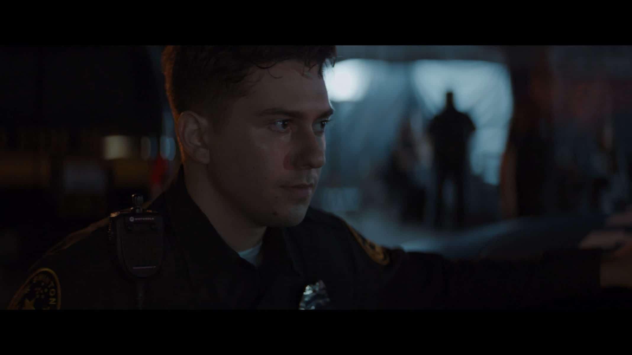 Danny (Nat Wolff) in his uniform.