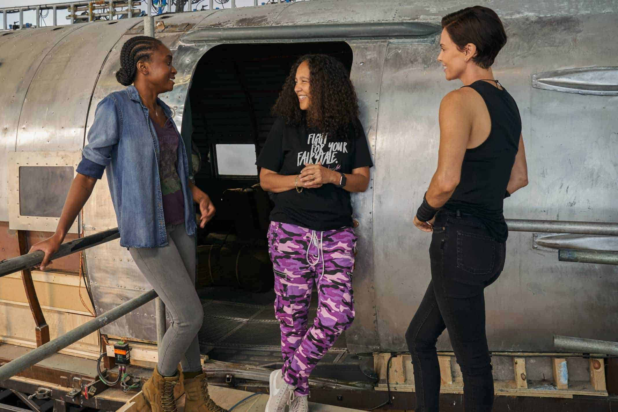 Kiki Layne, Gina Prince-Bythewood and Charlize Theron in conversation.