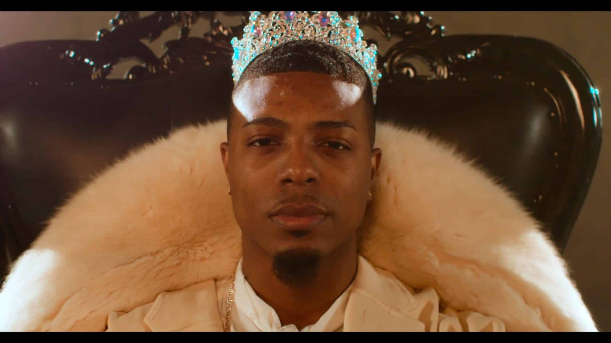 London wearing a crown during a promo shoot.