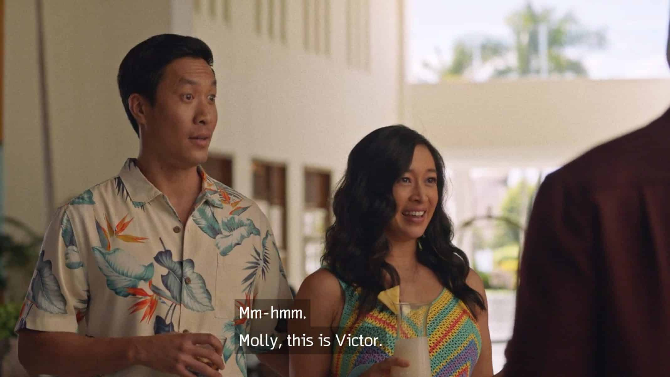 Victor (Stephen Oyoung) and Lydia (Camille Chen) being introduced.