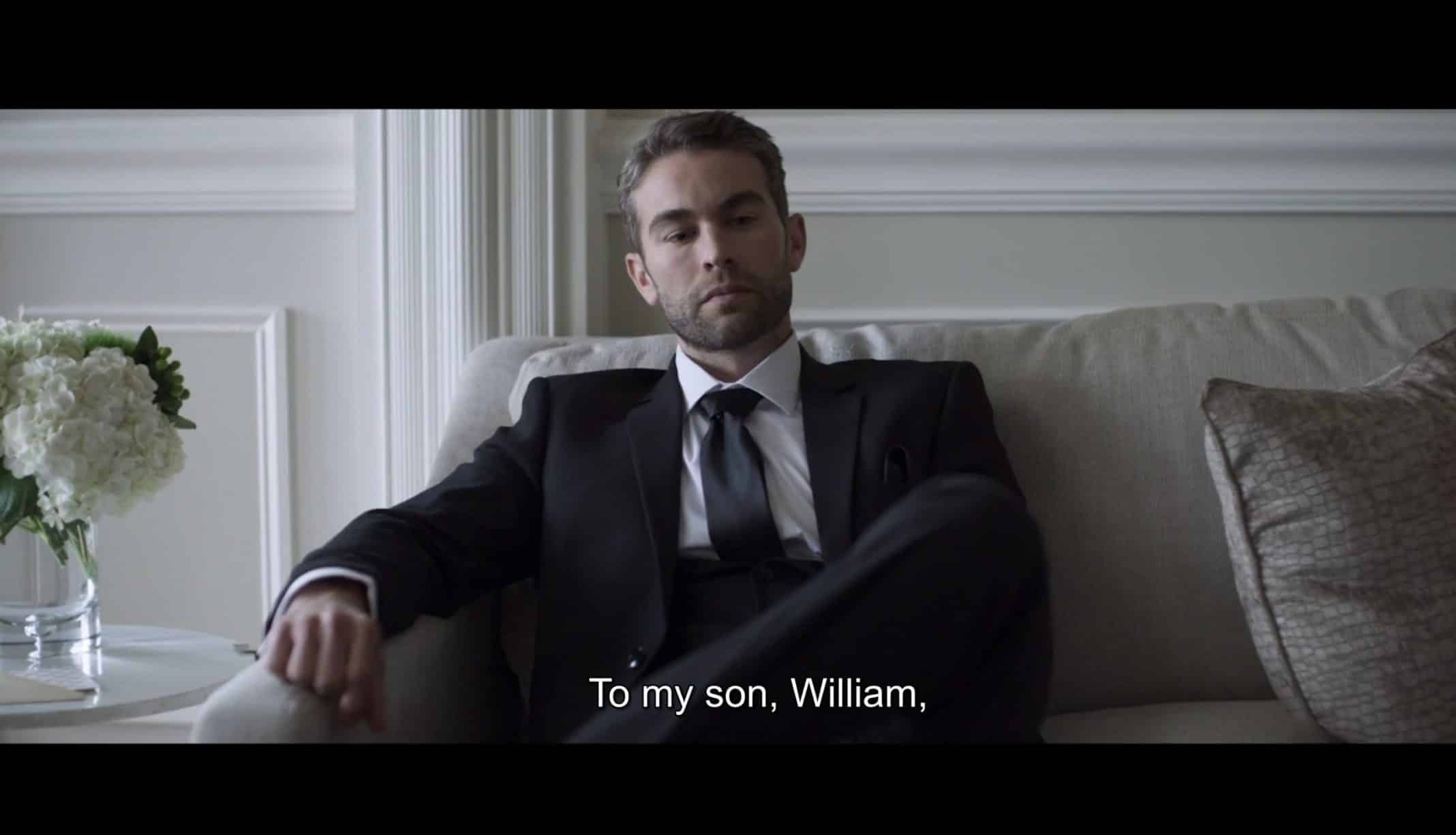 William (Chance Crawford) learning what's in his father's will.
