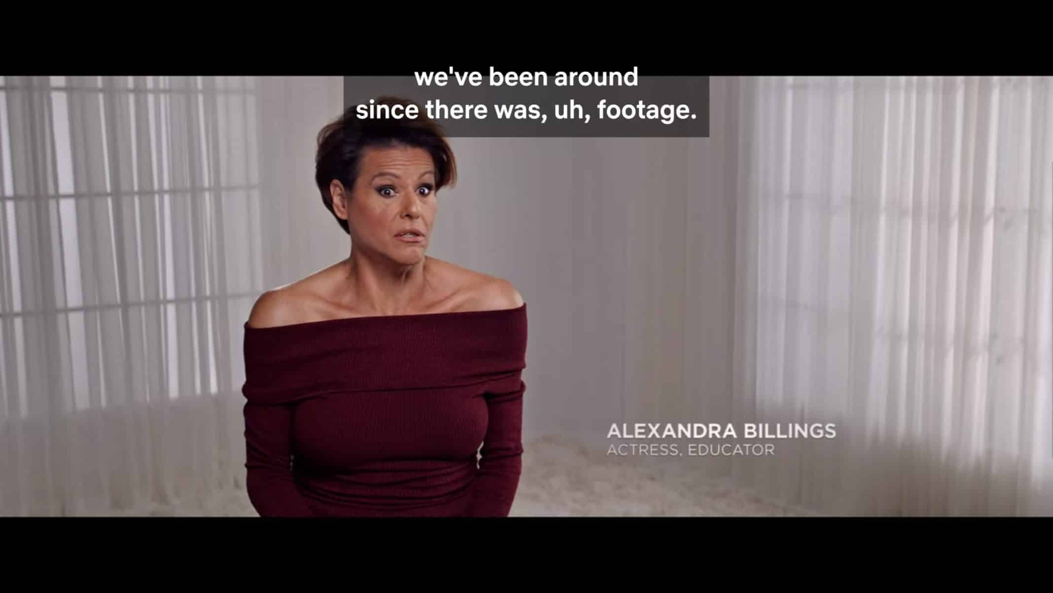 Alexandra Billings educating viewers on the history of trans existence.