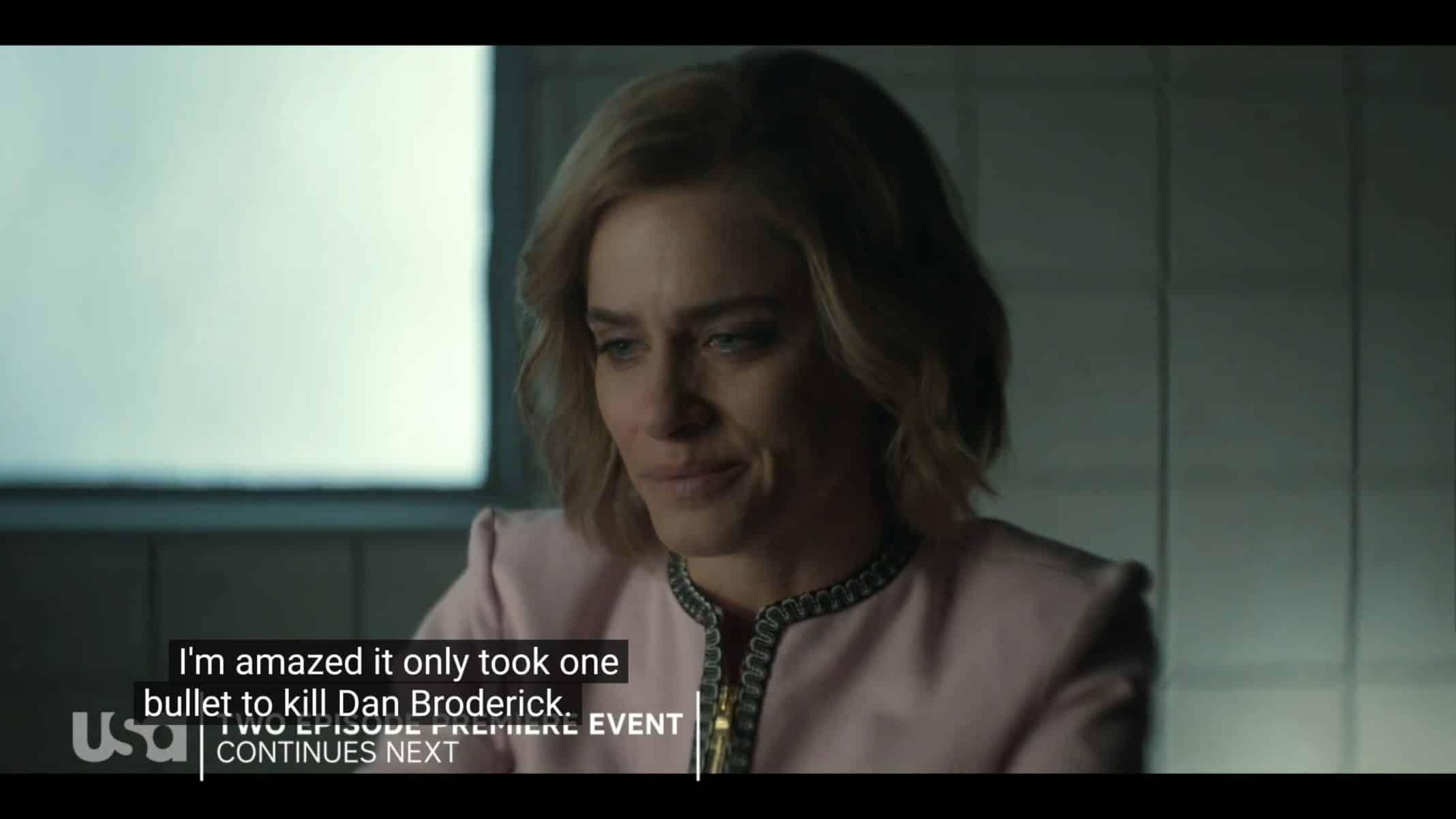 Betty (Amanda Peet) noting she killed her husband.