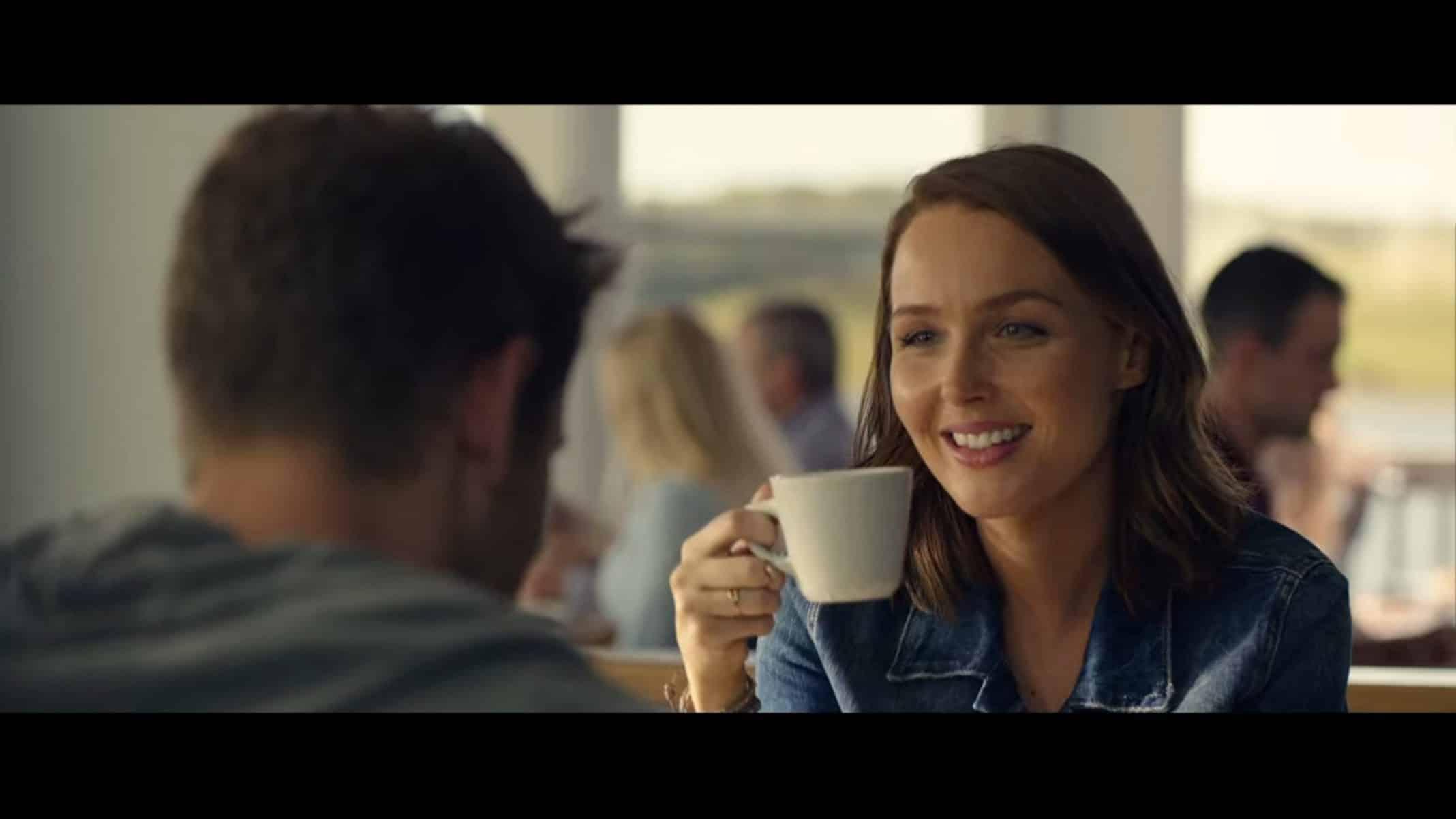 Cecilia (Camilla Luddington) having breakfast with Alec.