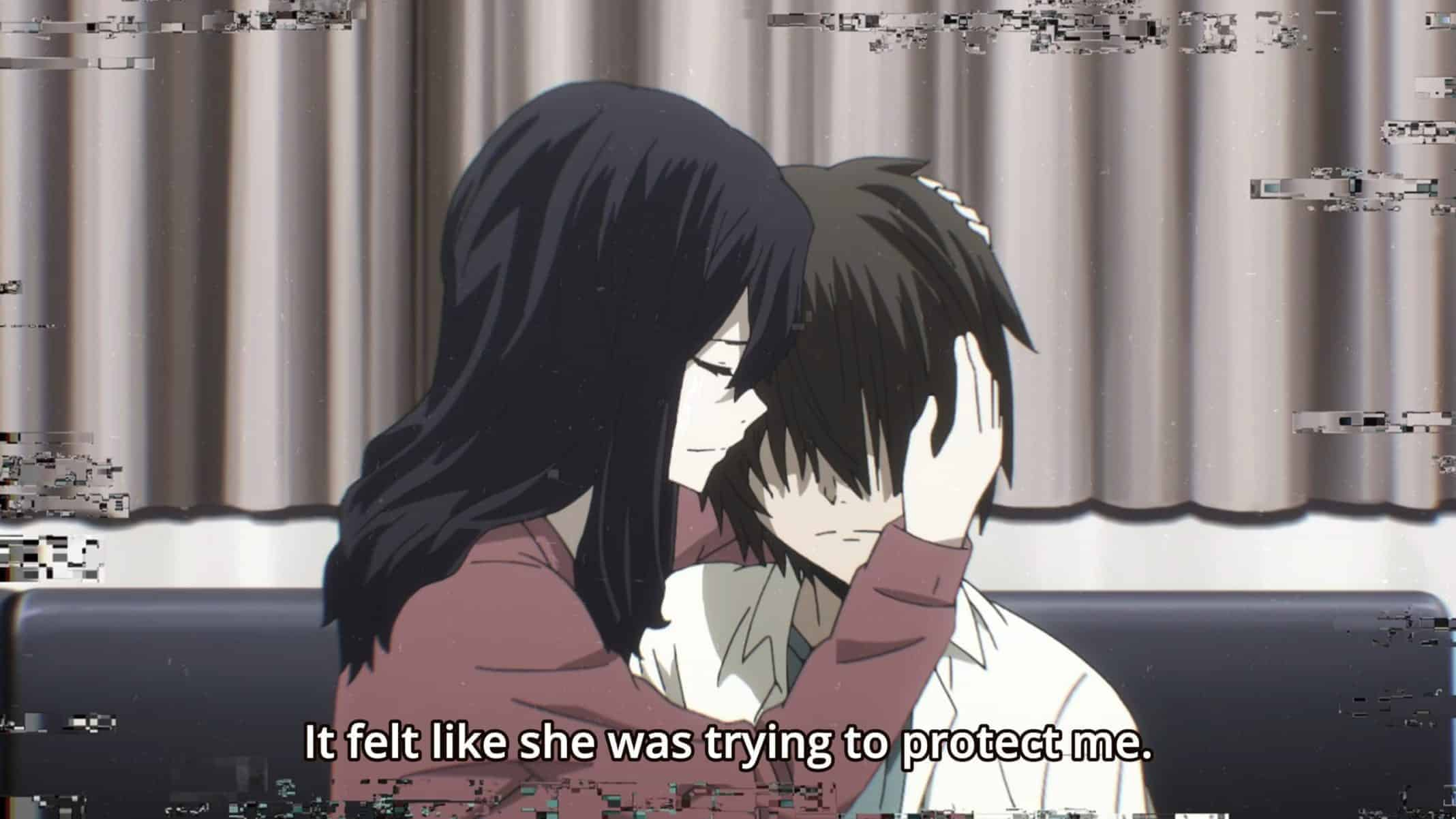 Elena (Hanazawa Kana) embracing Shuuichi (Hanae Natsuki) as he deals with the death of his parents | Gleipnir