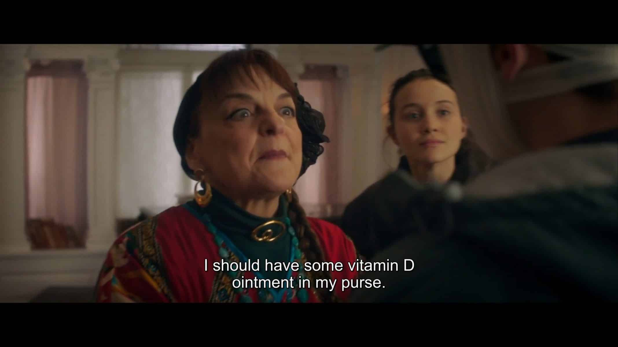 """Esther (Priscilla Lopez) talking to Max about ointment in """"Looks That Kill."""""""