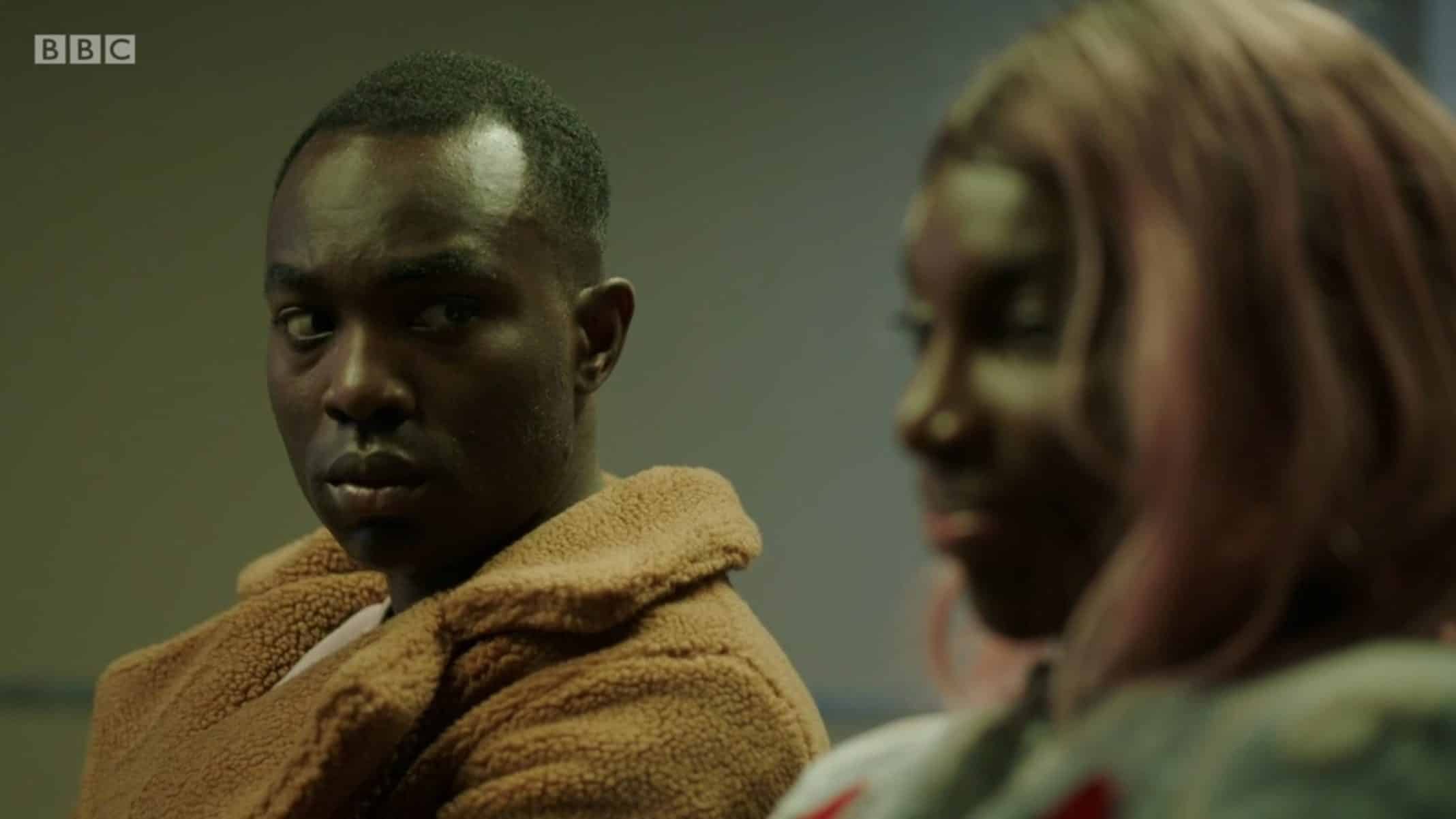 Kwame (Paapa Essiedu) realizing his friend was assaulted.