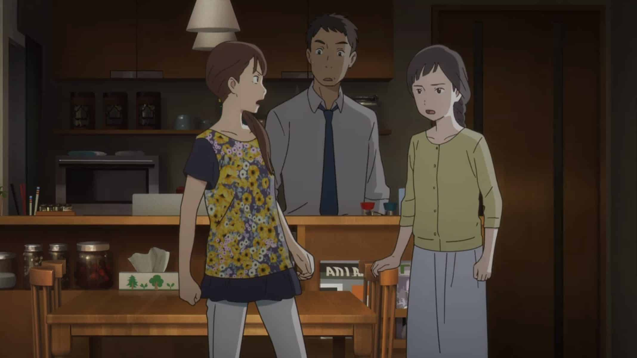 Miki, Yoji, and Kaoru arguing.