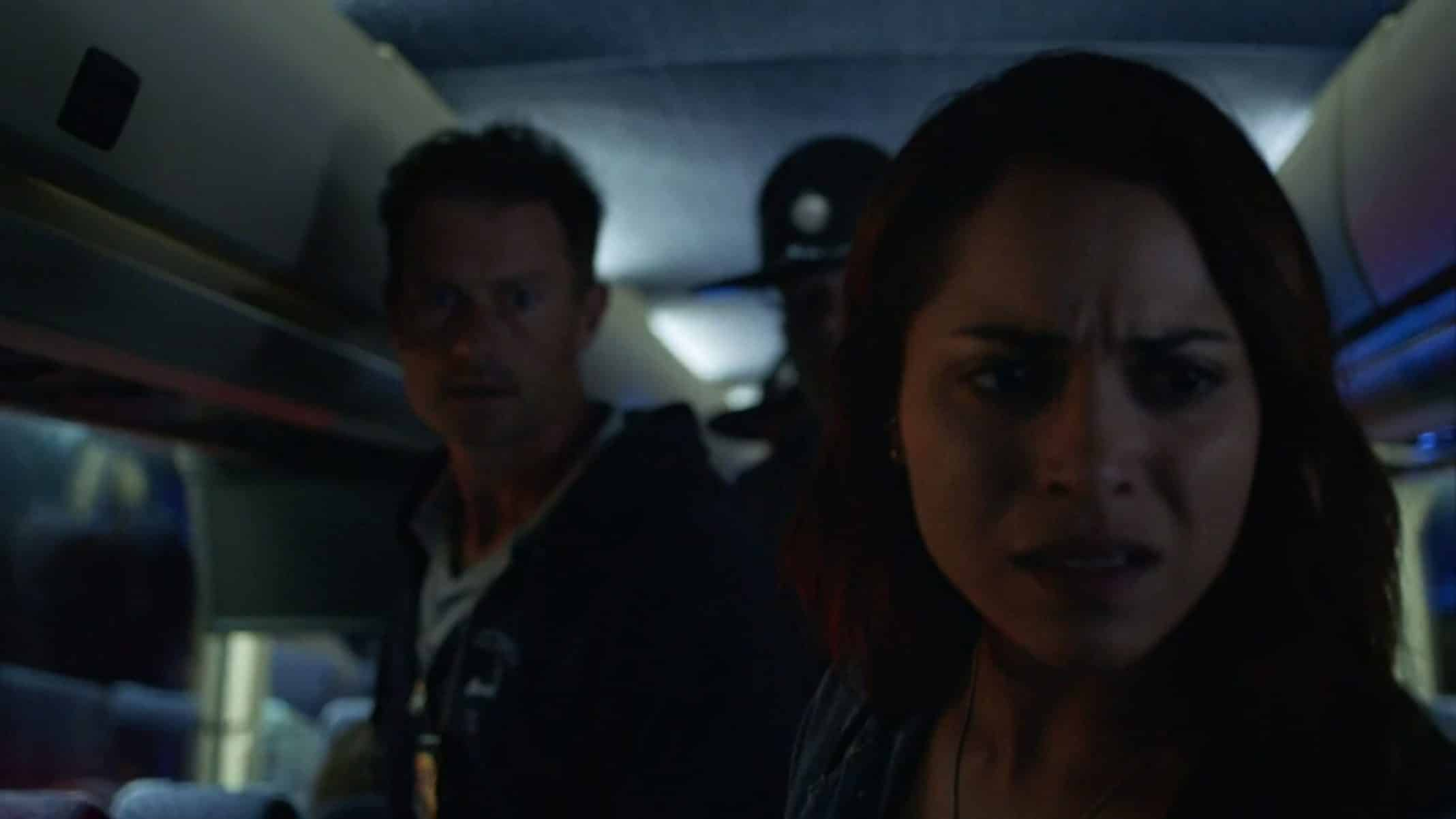 Ray (James Badge Dale) & Jackie (Monica Raymund) checking a bus for Junior | Hightown