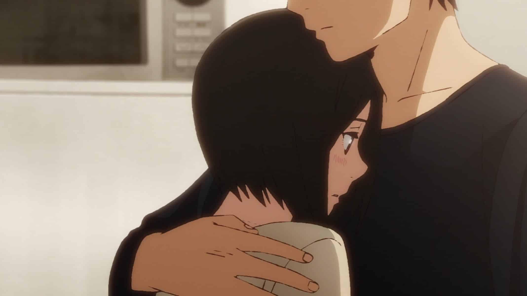 Rikuo holding Shinako.