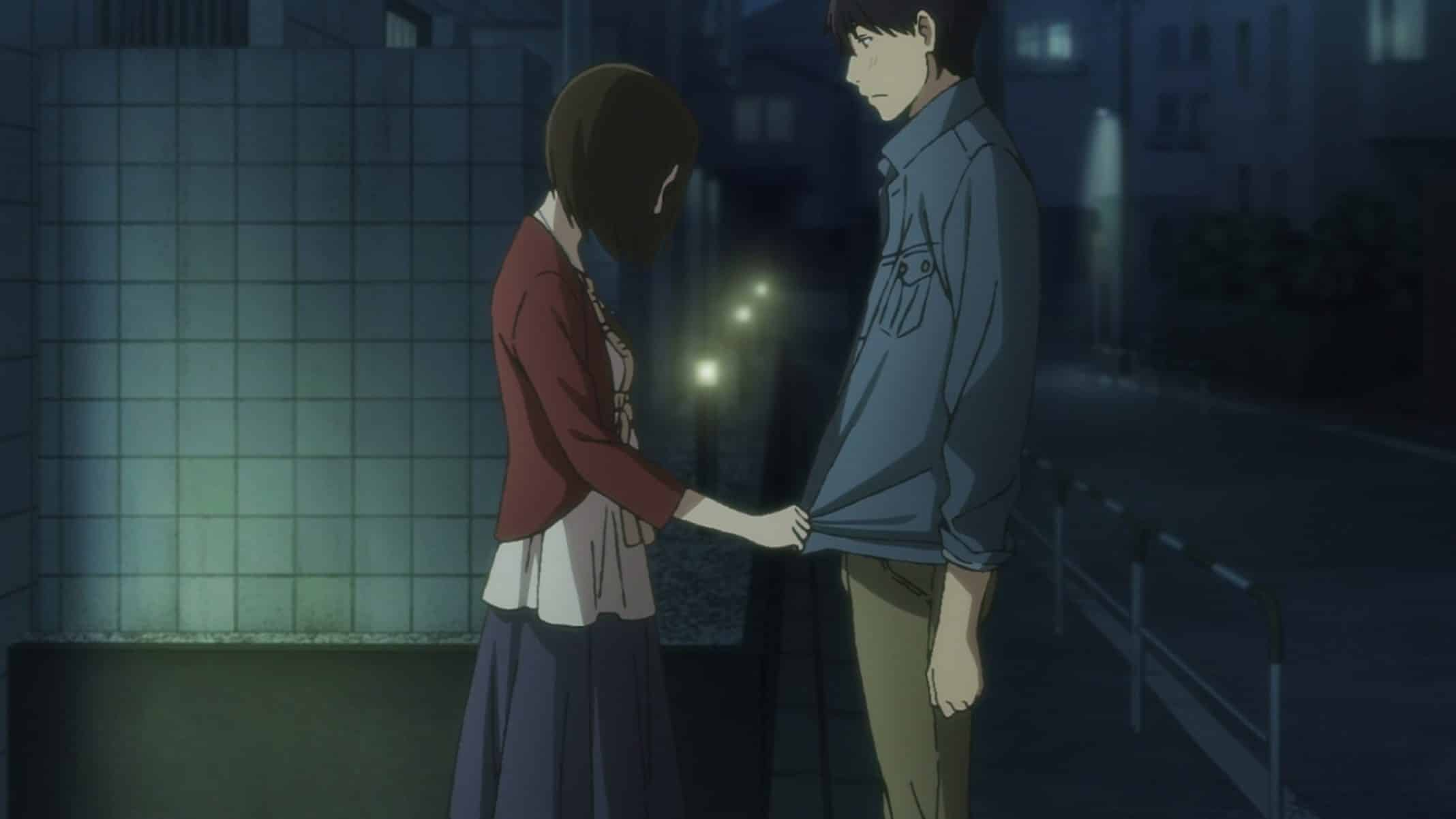 Shinako and Rikuo having a moment on the street.