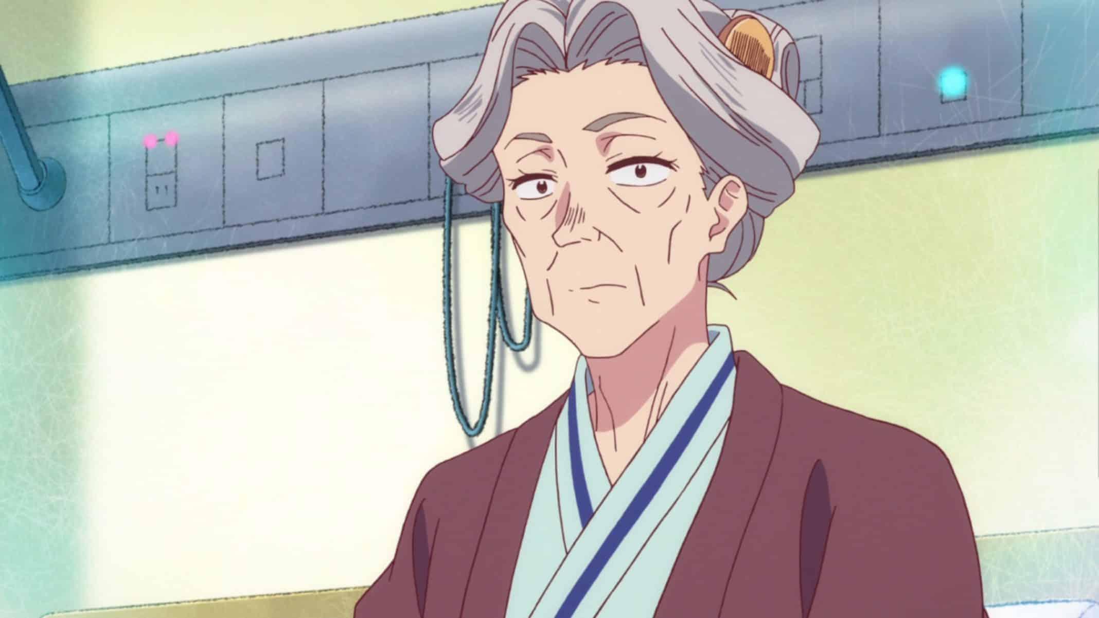 Grandma Kinoshita (Nozawa Yukari) in her hospital room.