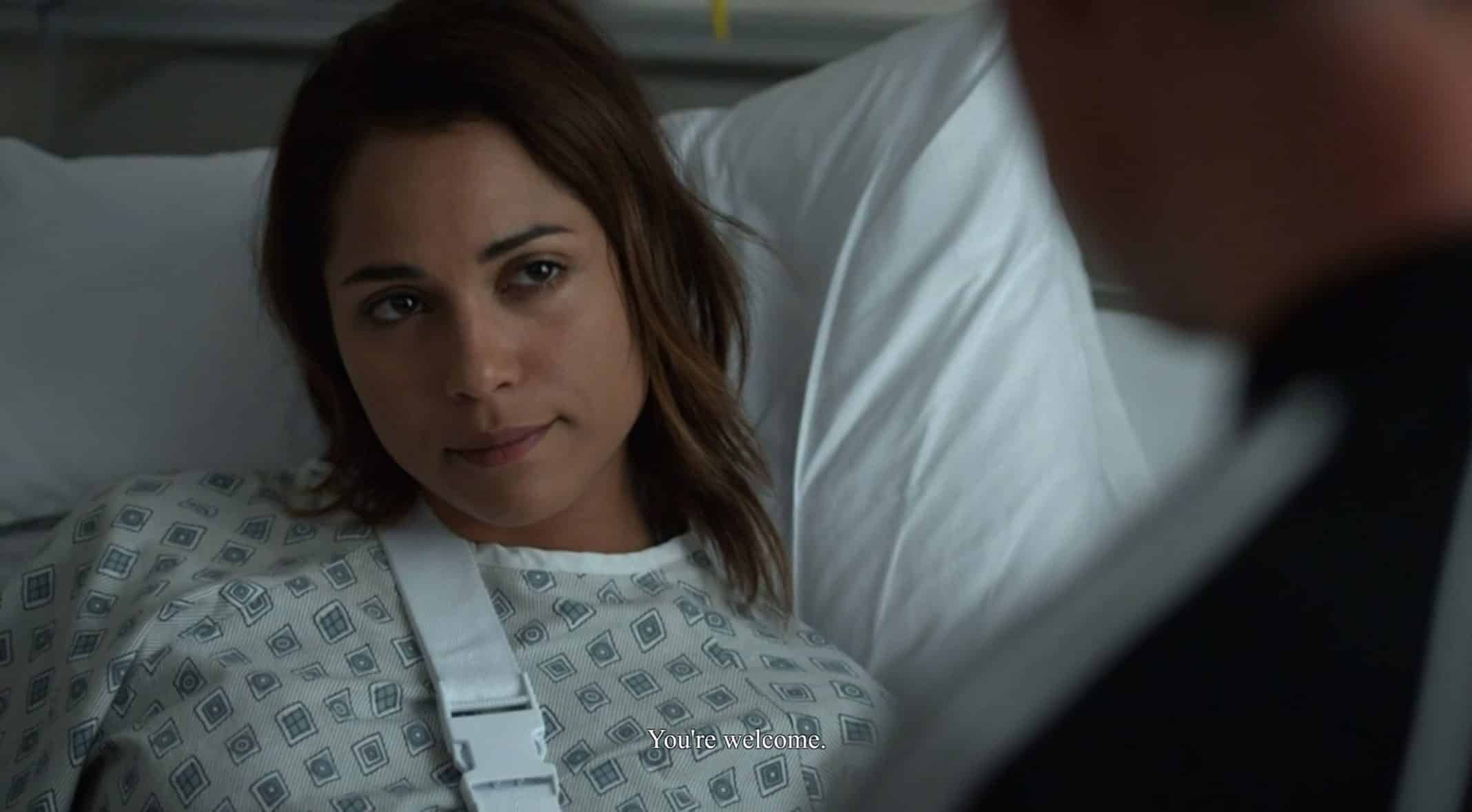 Jackie (Monica Raymund) telling Ray he is welcome for the help to take down Osito.