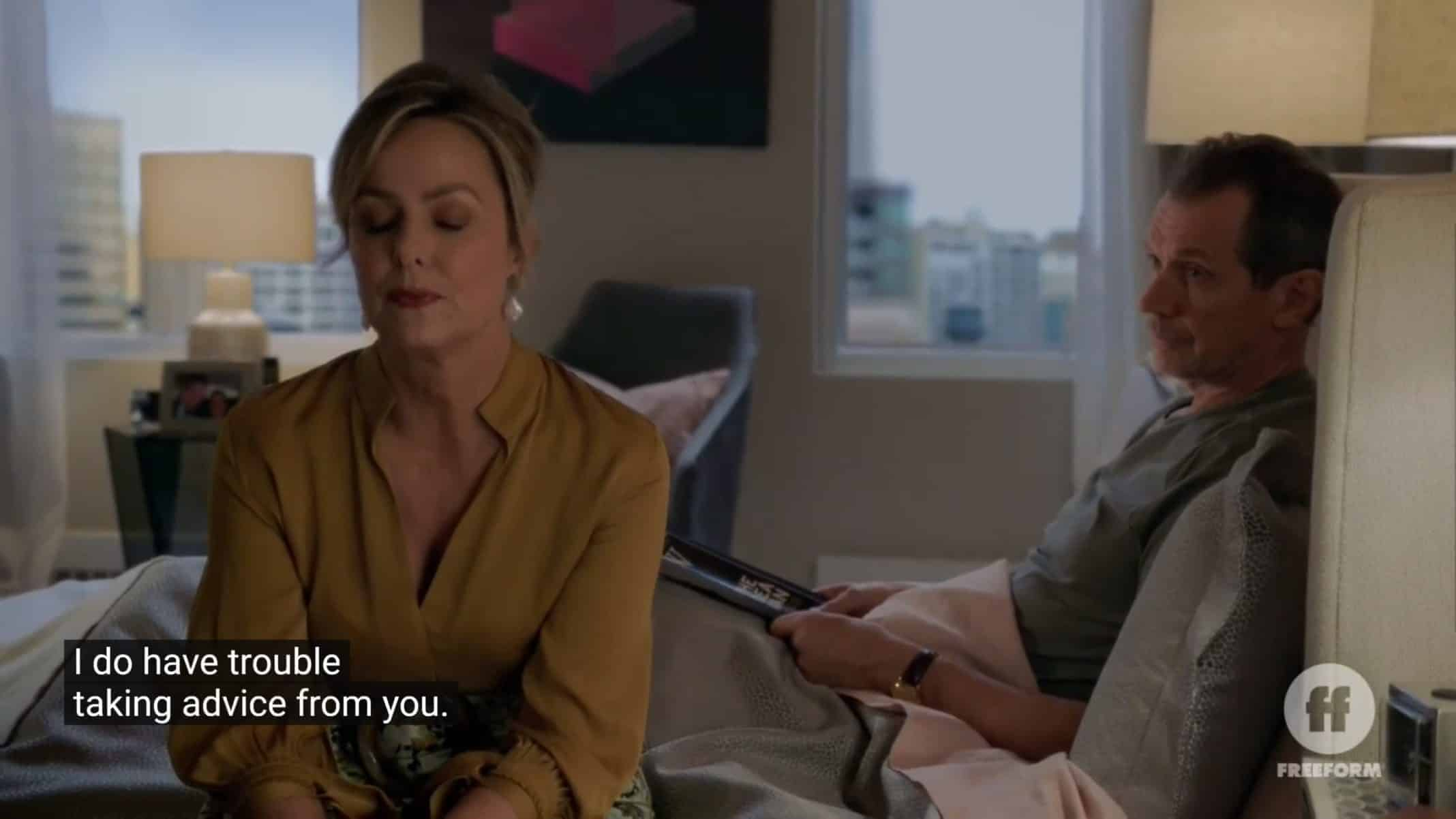 Jacqueline (Melora Hardin) and Ian (Gildart Jackson) talking about ways to strengthen their marriage.