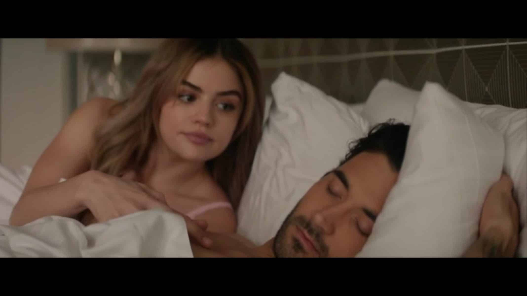 Lucy (Lucy Hale) and Grant (Leonidas Gulaptis)  after sleeping together.