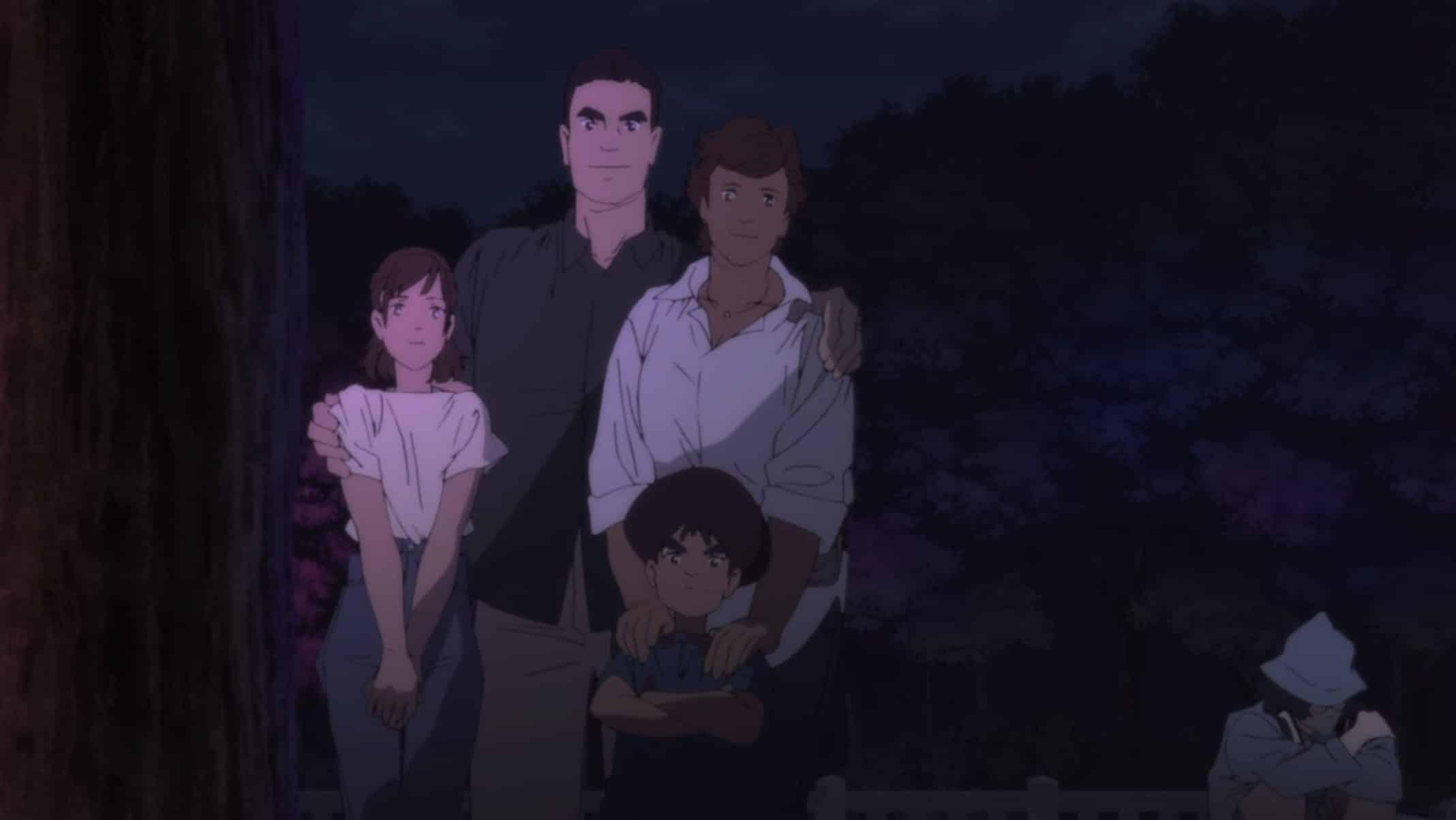 The Mutoh family: Mari (Sasaki Yuuko), Koichiro (Terasoma Masaki), Mari (Sasaki Yuuko), and Go (Muranaka Tomo)