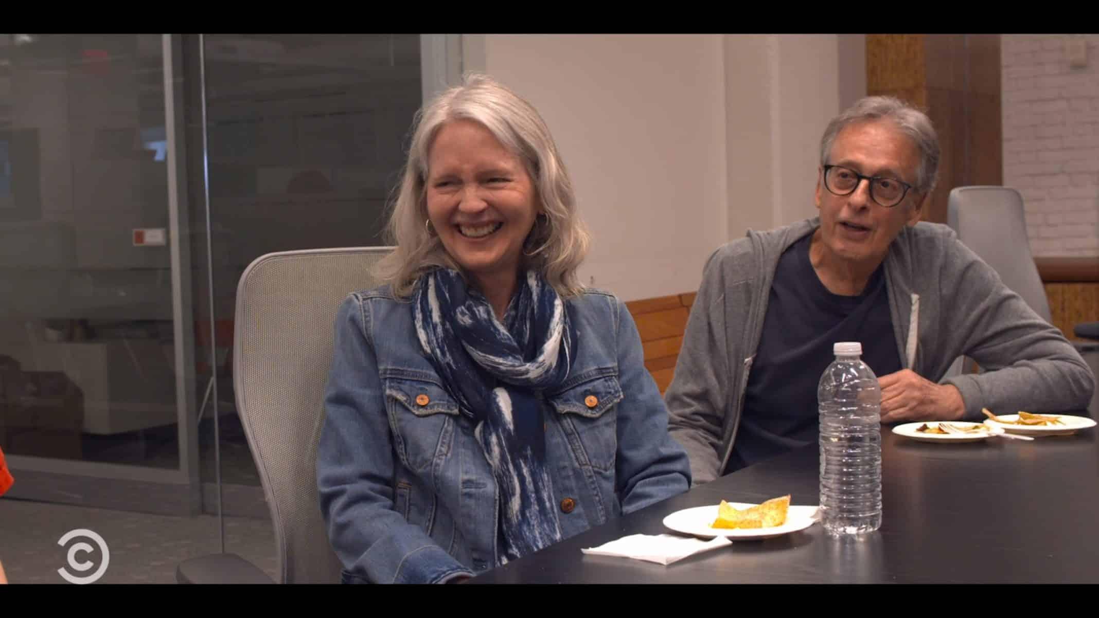 Mary and Morrie Povitsky making jokes.