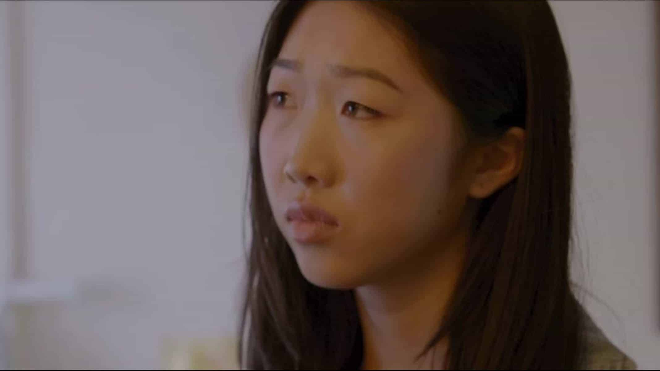Rachel (Shannon Dang) trying to process her conversation with TJ.