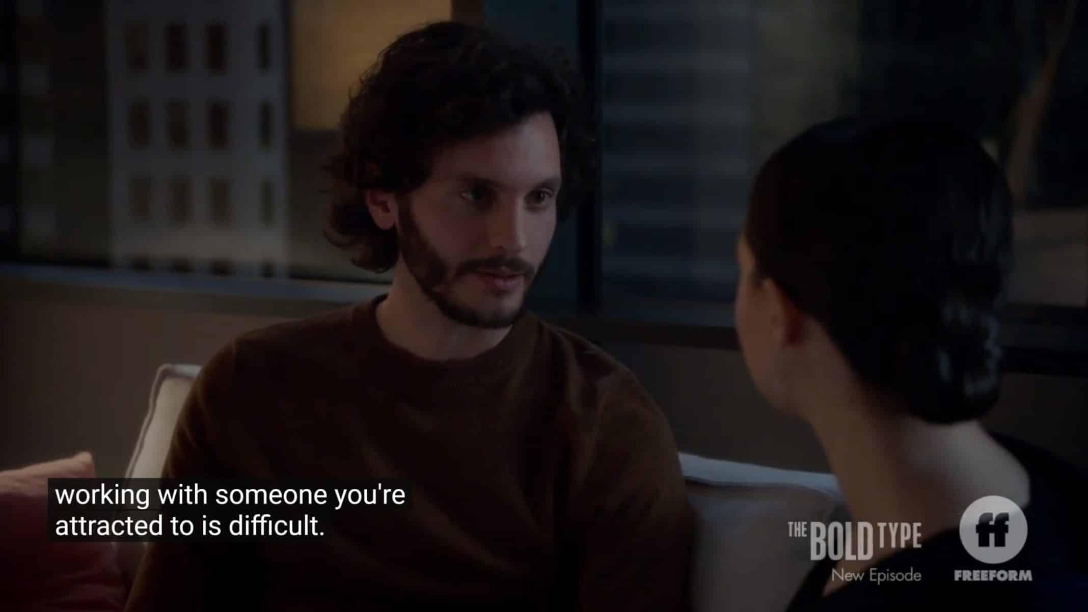 Scott (Mat Vairo) confessing he has feelings for Jane.