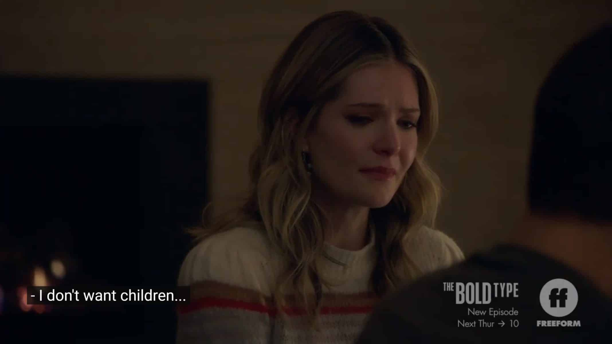 Sutton (Meghann Fahy) revealing she doesn't want kids to Richard.