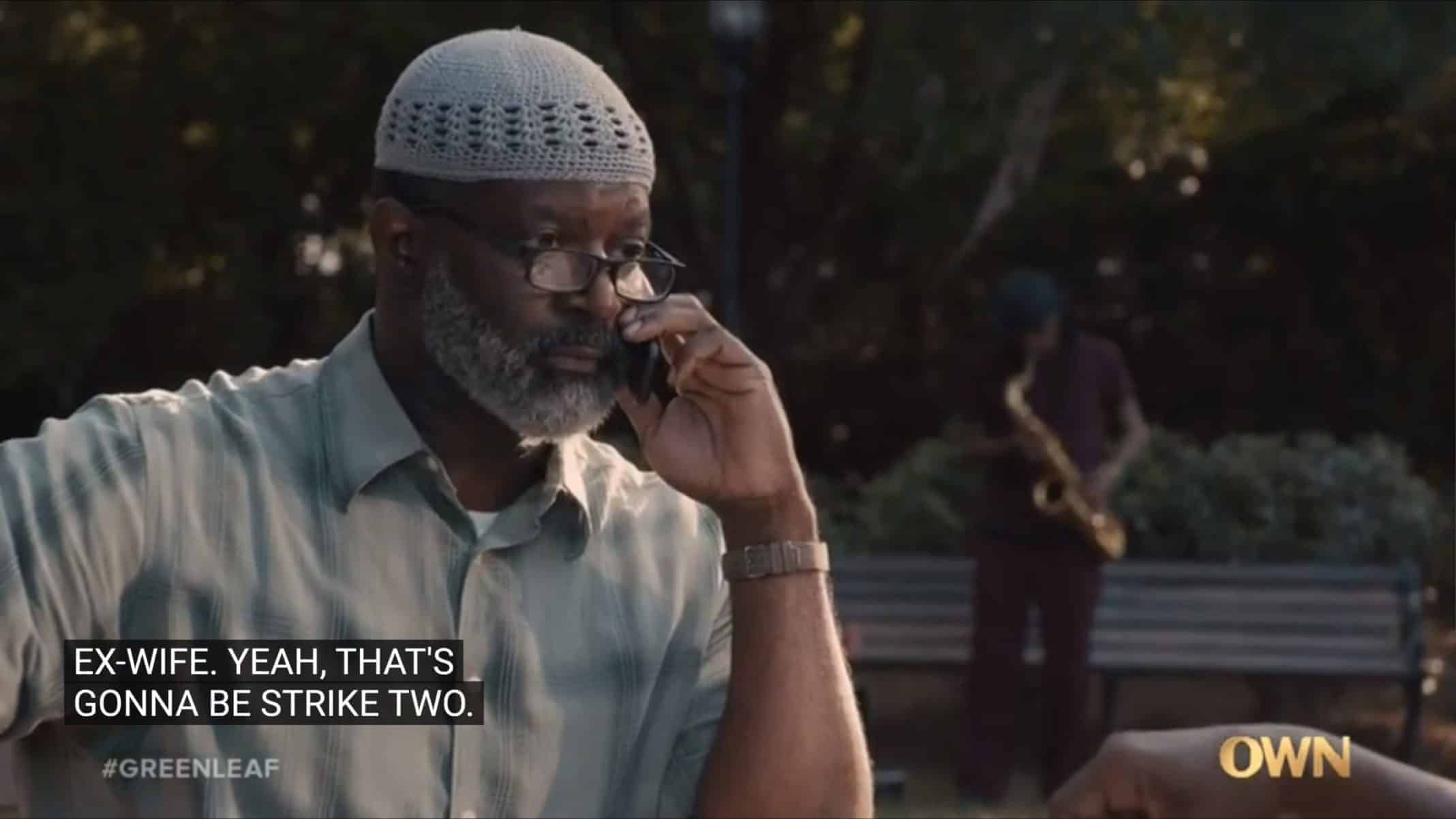 Yusef Shabazz (Jay DeVon Johnson) talking to Grace on the phone.