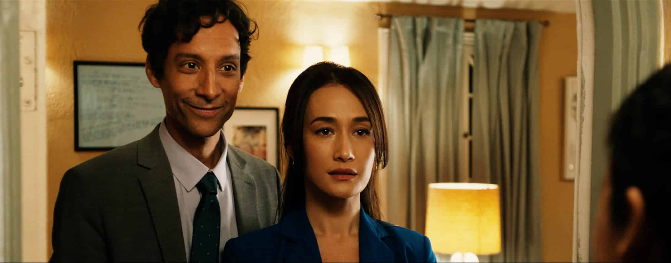 Brett (Danny Pudi) and Sarah (Maggie Q) showing us how opposite they are.