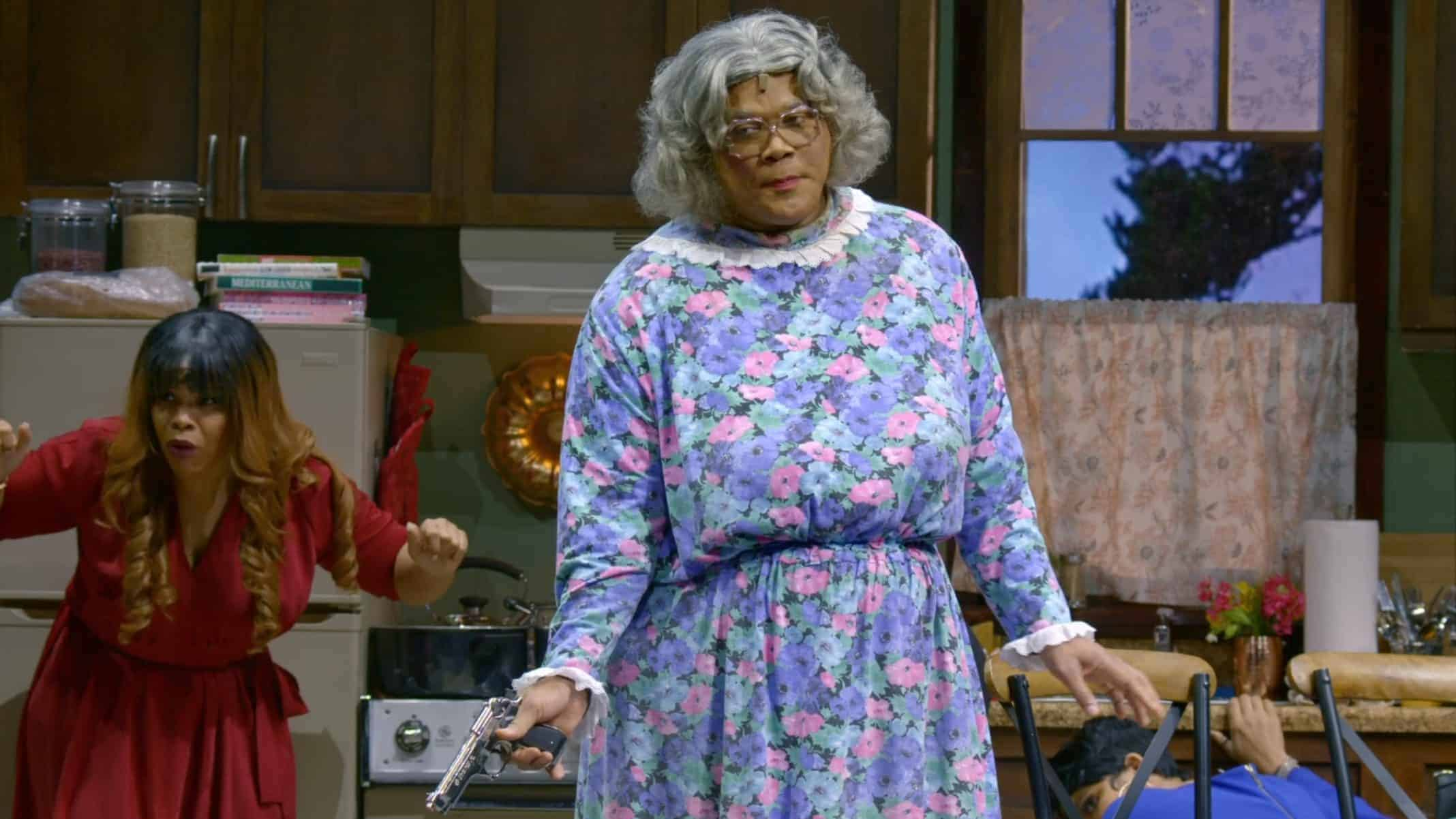 Darlene (Alexis Hollins) and Madea (Tyler Perry) after Madea fired off some shots.