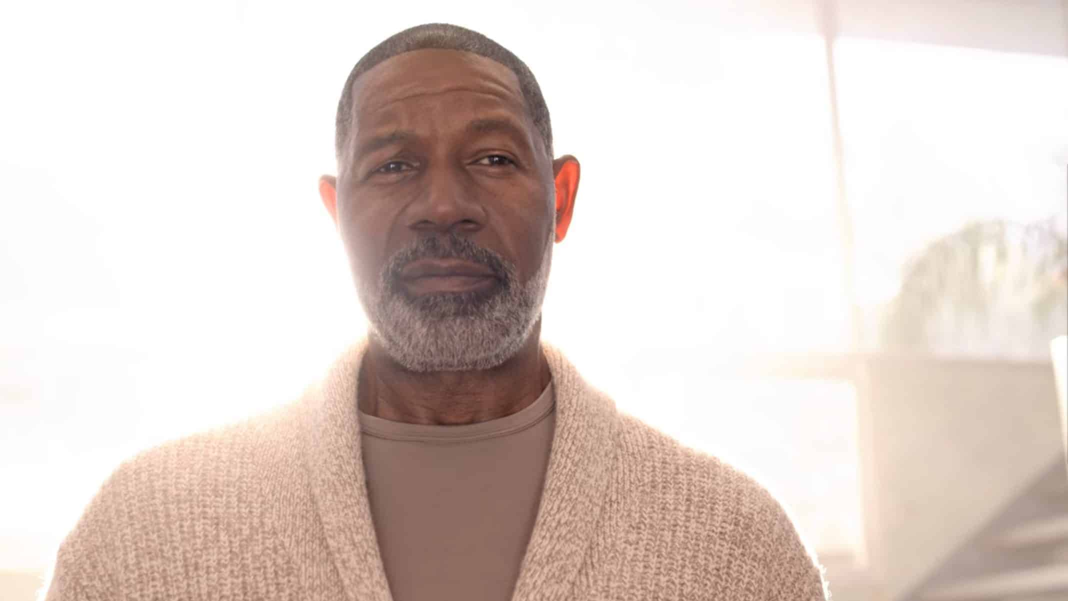 God (Dennis Haysbert) with his face revealed.
