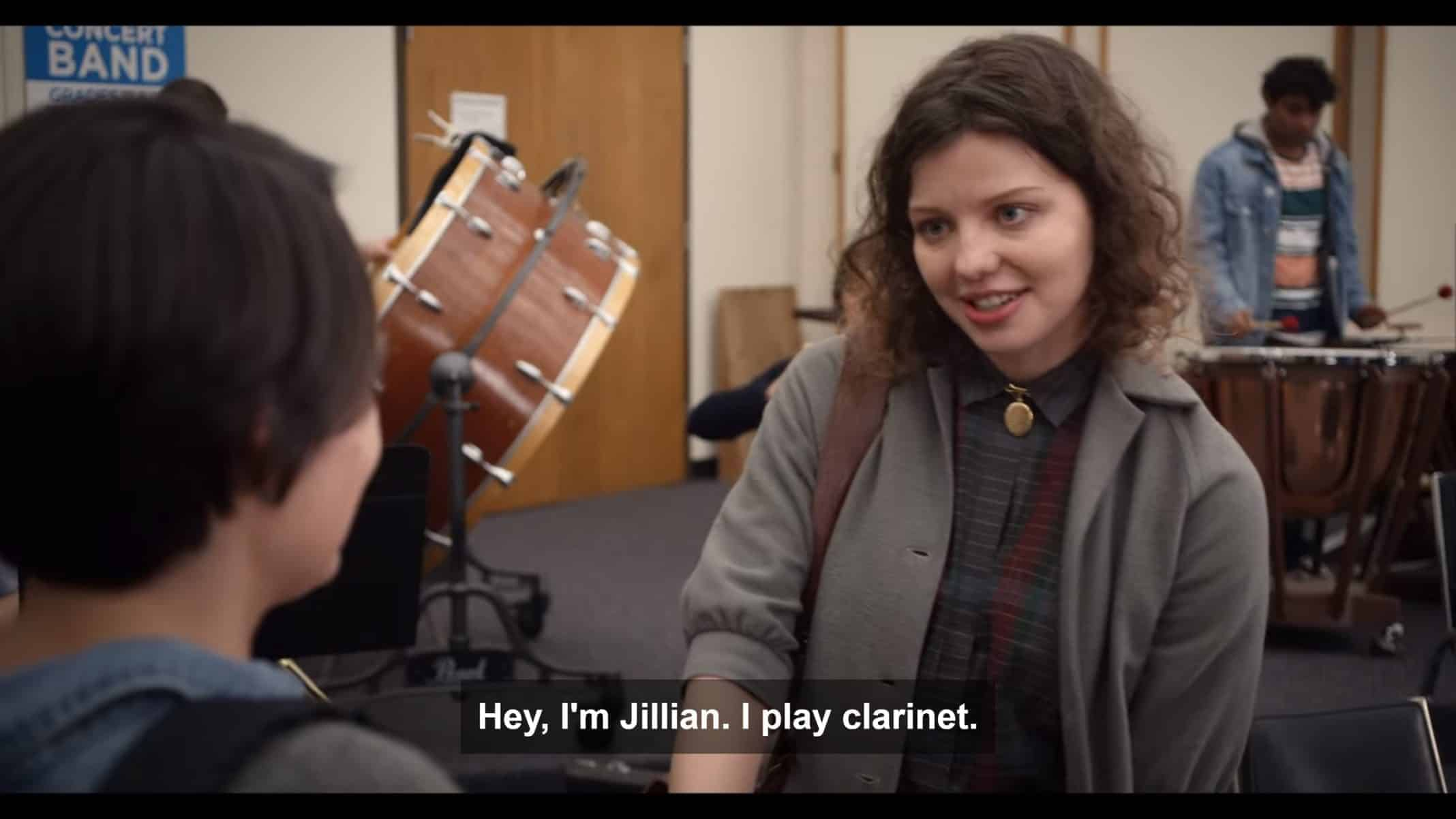 Jillian (Chloe Levine) introducing herself.
