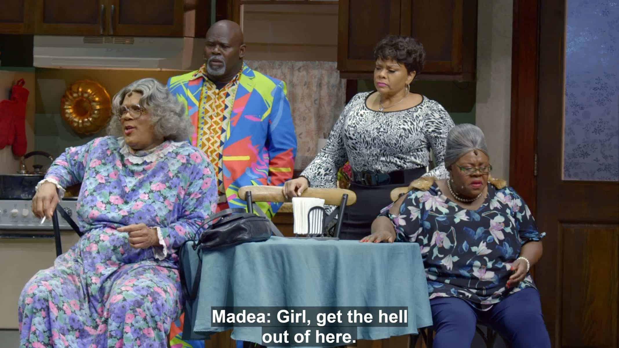 Madea (Tyler Perry), Mr. Brown (David Mann), Cora (Tamela Mann), and Aunt Bam (Cassi Davis Patton) reacting to a reveal.