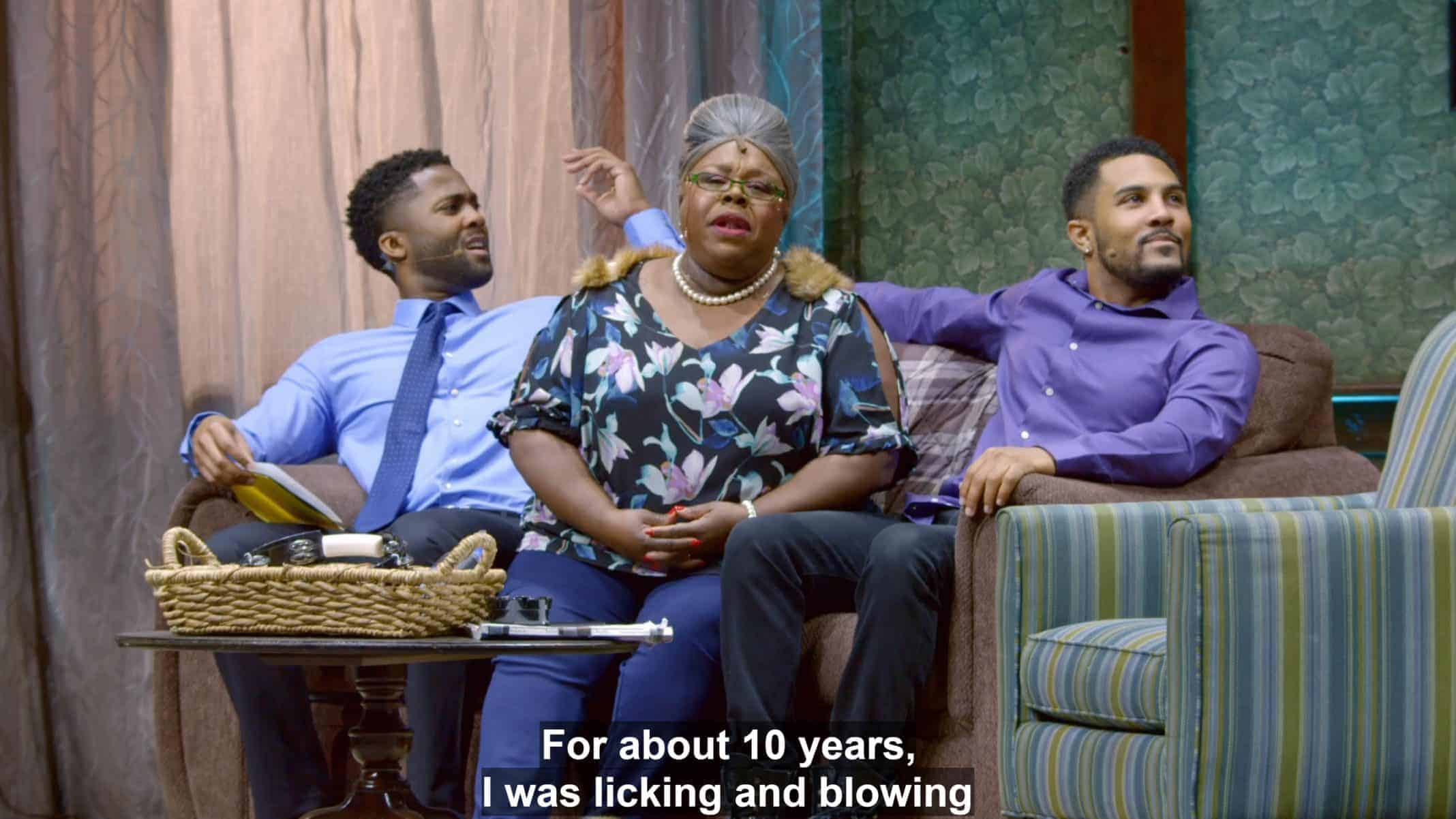 Malik (Jacoby Brown), Aunt Bam (Cassi Davis Patton), and Devin (Anthony Lewis) on the couch, while Aunt Bam talks about licking and blowing.