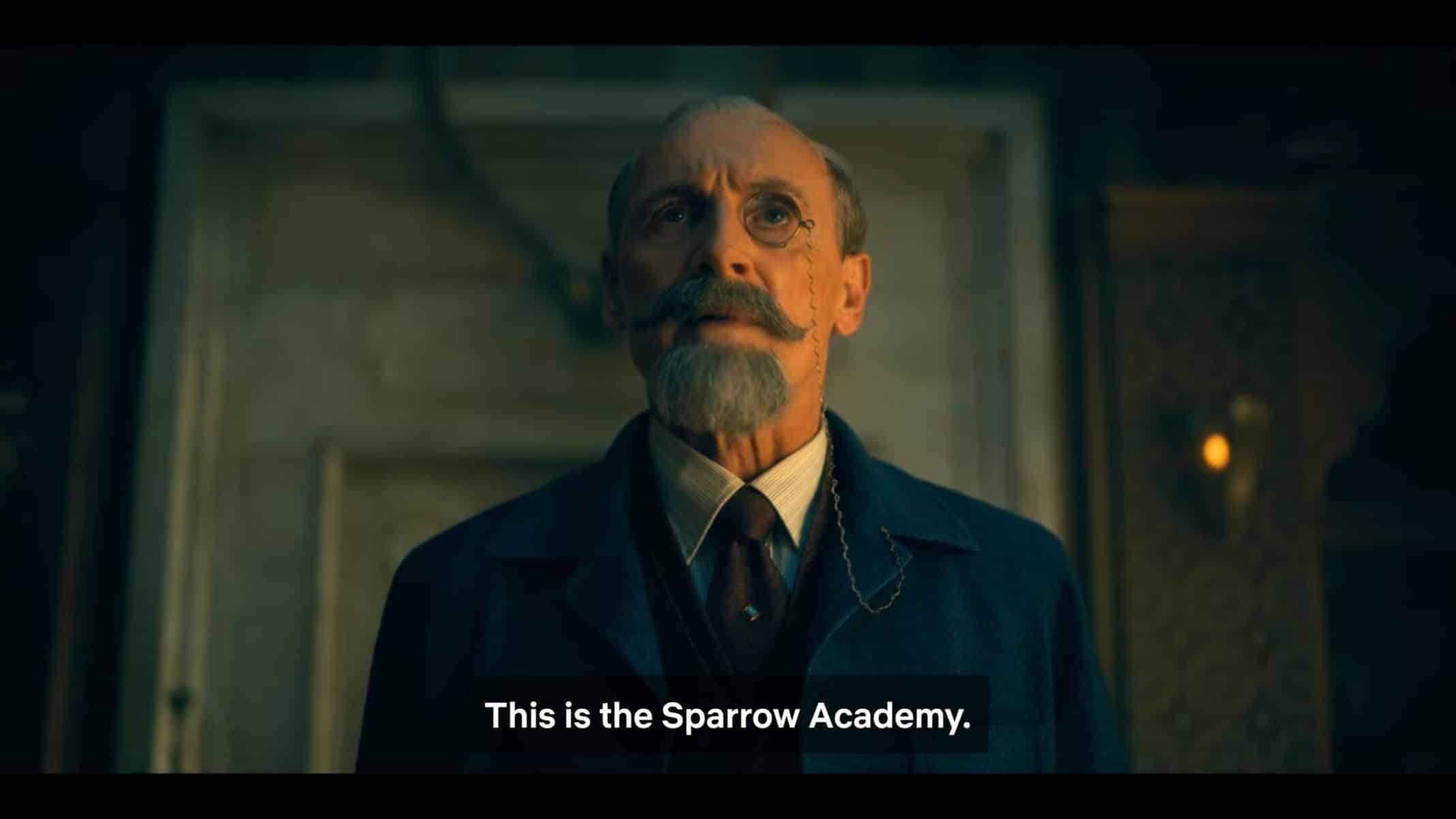 Reginald noting he began the Sparrow Academy, not Umbrella Academy.