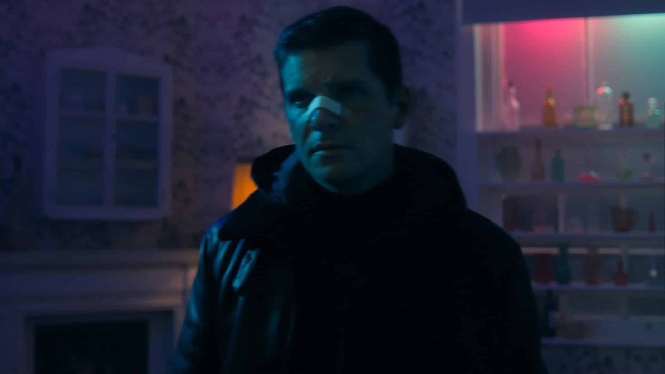 Simon (Nigel Harman) after being assaulted.