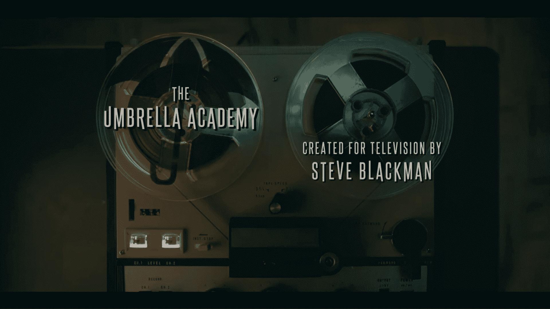 A tape recorder featuring The Umbrella Academy logo