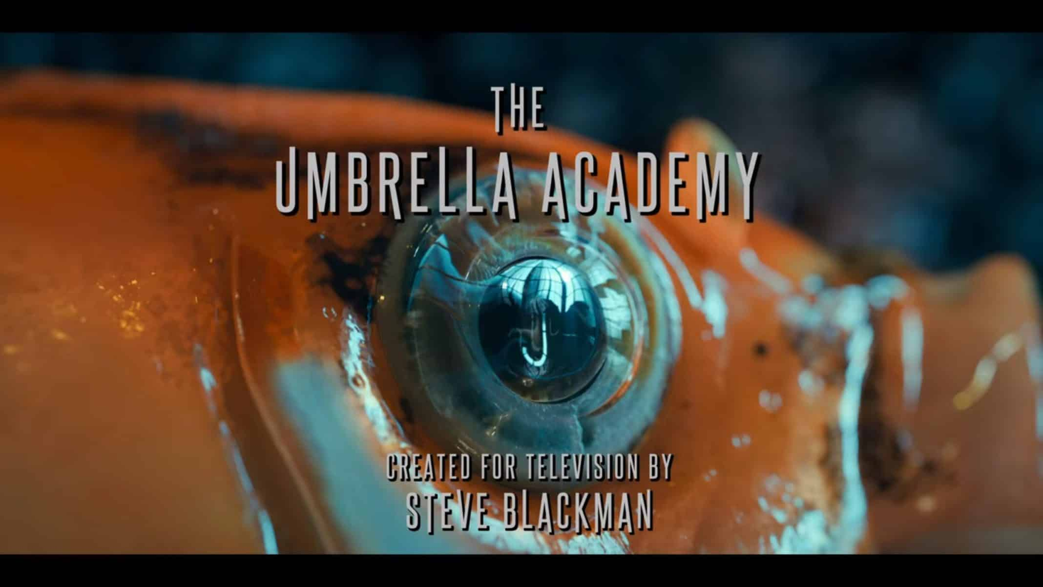 AJ's eye featuring the Umbrella Academy's title card.