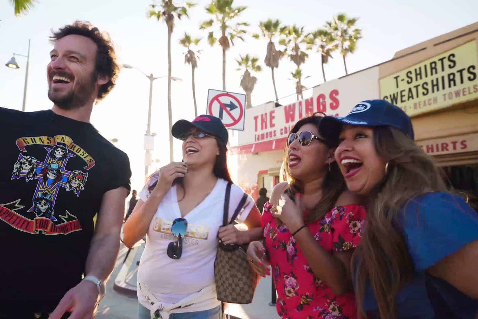 Al Bailey with a bunch of girls in Los Angeles.