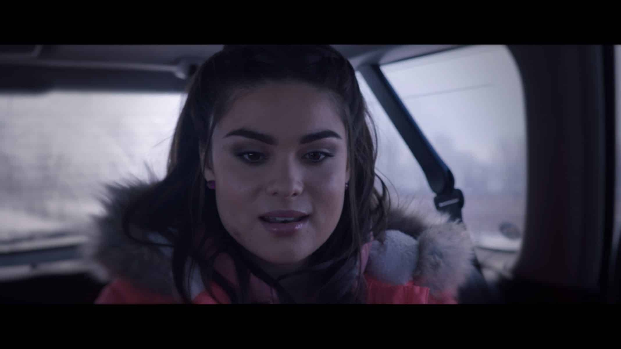 Brittany (Devery Jacobs) in the car with Kayla and Kayla's dad.