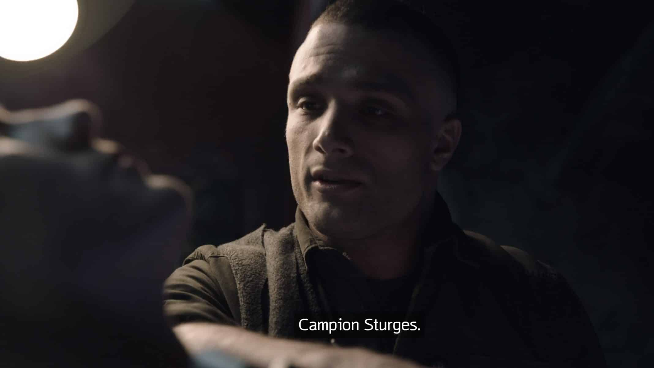 Campion Sturges (Cosmo Jarvis) telling Mother his name.