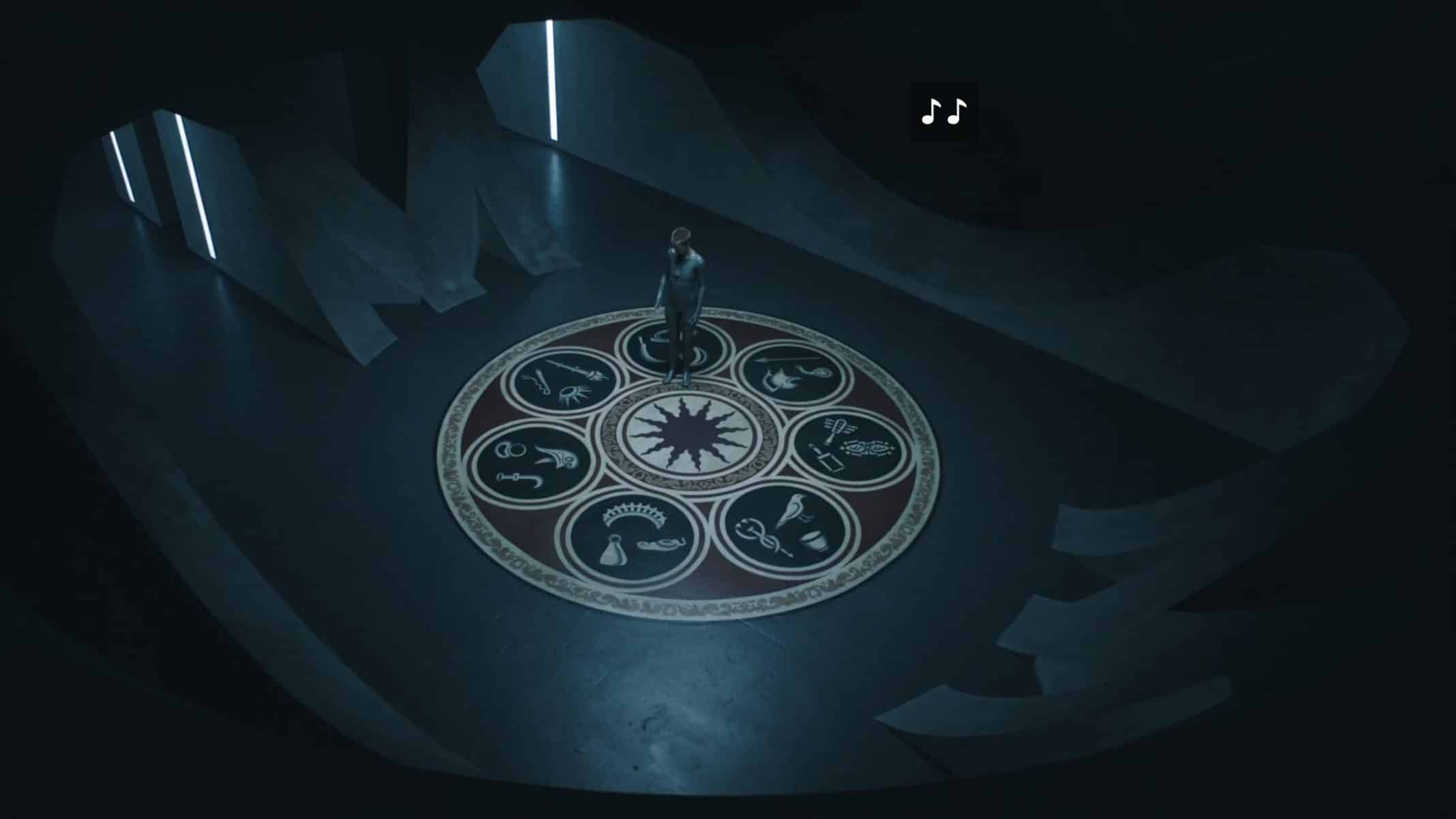 Mother, in a dream, looking down at a floor with multiple symbols.