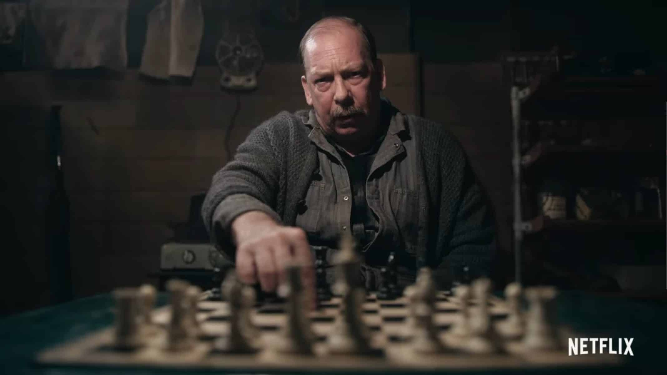 Mr. Shaibel (Bill Camp) playing chess with Beth.