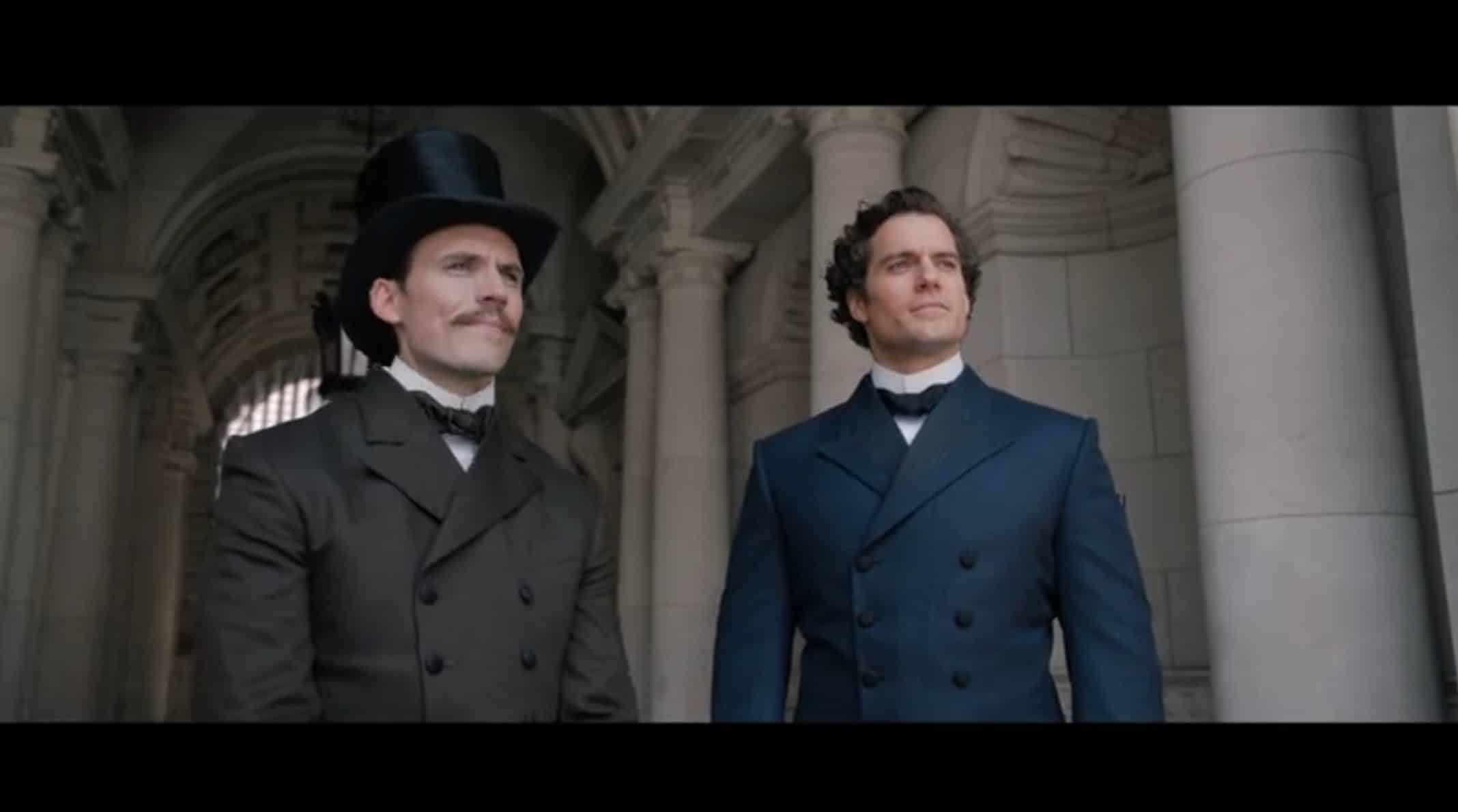 Mycroft (Sam Claflin) and Sherlock (Henry Cavill) Holmes waiting on their sister to arrive.