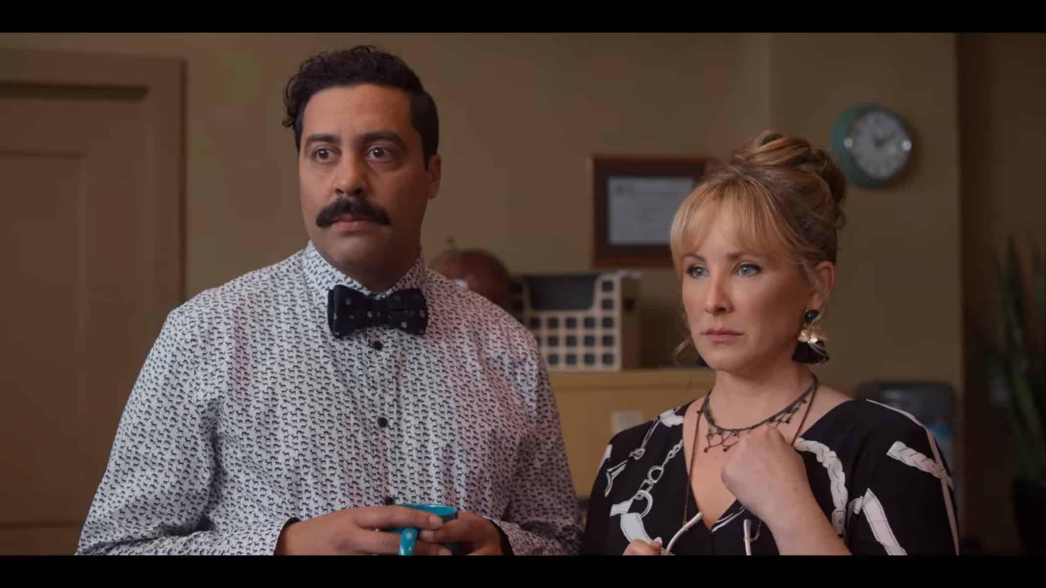 Roberto (Sean Amsing) and Denise (Lisa Durupt) looking at Susan.