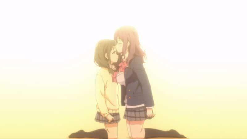 Nagafuji kissing Hina's forehead.