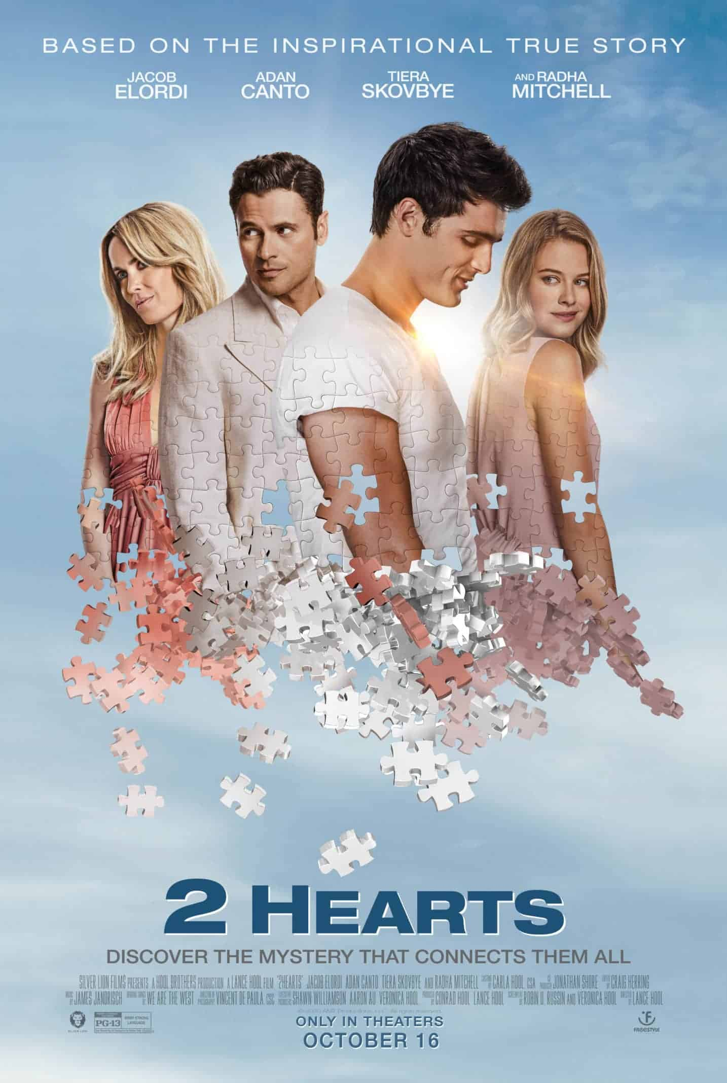 2 Hearts movie poster featuring Jorge (Adan Canto) and Leslie (Radha Mitchell), as well as Sam (Tiera Skovbye) and Chris (Jacob Elordi)