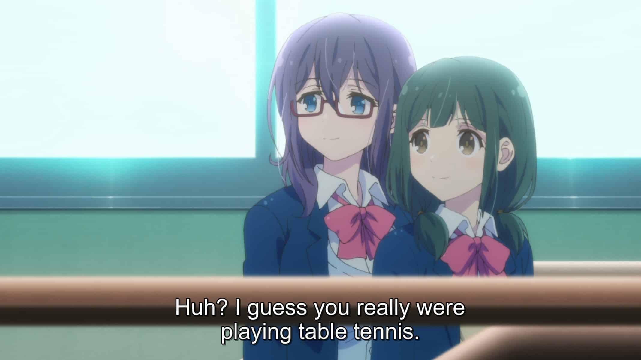 Nagafuji (Ueda Reina) and Hino (Numakura Manami) learning about Adachi and Shimamura's friendship.